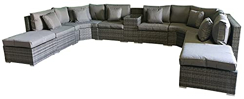 Giardino Santorini 6 Seater Grey Rattan Sofa Set with Armrest Drinks Cooler, 2 Ottomans & Outdoor Furniture Covers | 7 piece Curved Rattan Sofa Set | Conservatory Furniture