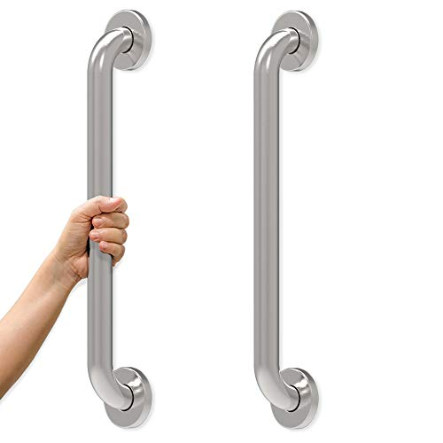 AmeriLuck 18 inches Stainless Steel Bath Grab Bar (2 Pack), ADA Compliant 500lbs Loading Capacity, Brushed Nickel