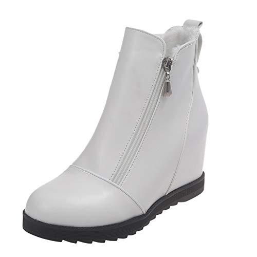 WUSIKY Geschenk für Frauen Stiefeletten Damen Bootsschuhe Boots Fashion Weisekeil runde Zehe beschuht Flache beiläufige warme Schuh Baumwollstiefel (Weiß, 38 EU)