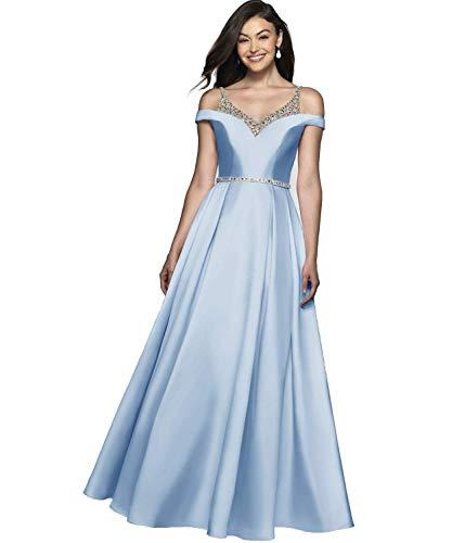HUINI Vestidos de Noche Mujer Vestido de Fiesta Vestido Ceremonia Largo de Satén para Novia Vestido de Boda Princesa A-línea Azul Claro 46