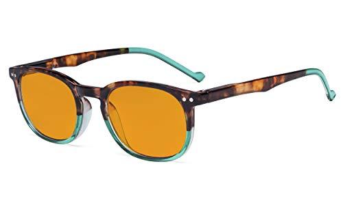 Eyekepper Retro Blue Light Glasses Women Men - Blocking UV Ray Anti Screen Glare Nighttime Computer Eyeglasses with Orange Tinted Filter Lens - Tortoise/Green