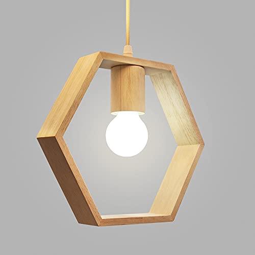 Artpad Nordic Wooden Hexagon Geometric Colgante Lights Single Head Hanging Comedor Bar Restaurant Lámpara de madera con 5w Bombilla blanca