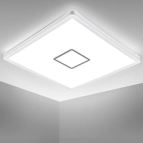 B.K.Licht plafonnier design carré, platine LED 18W, éclairage plafond ultra-plat: 28mm, applique modern blanc-argenté, 2400Lm, lumière blanche neutre 4.000K, 293x293mm