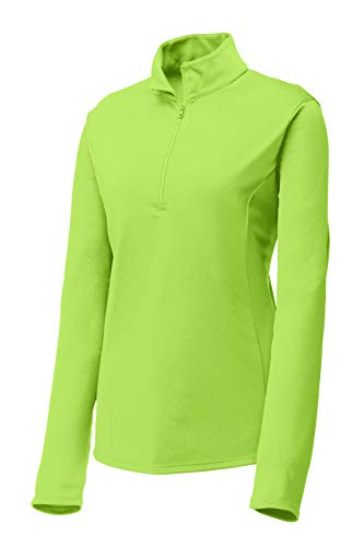 Clothe Co. Womens Lightweight Athletic Performance 1/4-Zip Pullover,Lime Shock,2XL