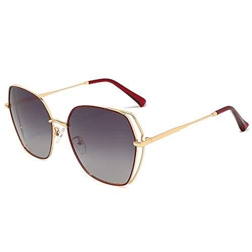 HFSKJ Gafas de Sol, Gafas de Sol polarizadas Gafas de Sol Retro de Metal con Montura Grande Las Gafas Populares Son adecuadas para Hombres y Mujeres,A