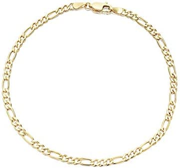 Women's Girls Layered Real Gold Plated Anklet Bracelet Figaro Link 10