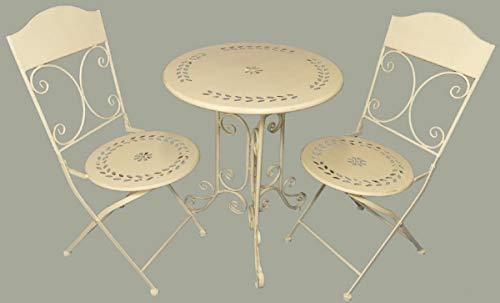 Casa Padrino Jugendstil Gartenmöbel Set Rustikal Weiß - 1 Tisch & 2 Stühle - Barock & Jugendstil Gartenmöbel