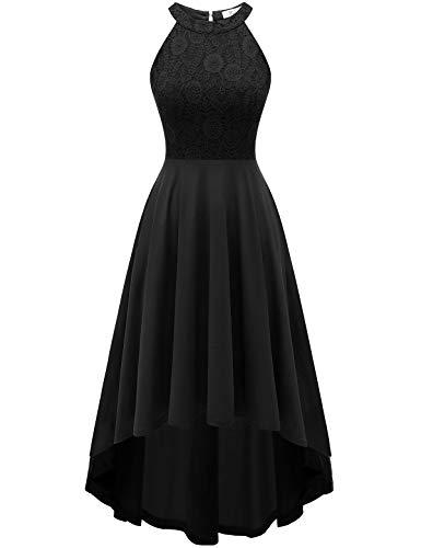 YOYAKER Vestito da Festa Elegante Senza Maniche Hi-Lo Festa Vestito Lungo Donna Abito da Sposa Black 2XL