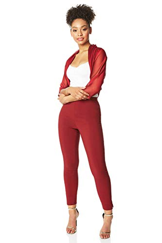 Roman Originals Women Chiffon Bolero Shrug Jacket - Ladies Ruched Hem Cover Up Smart Formal Sheer Mesh Wrap Shimmer Cropped Cardigan Wedding Guest Evening Crease Free Blazer - Red - Size 18