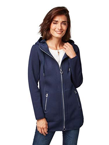 TOM TAILOR Damen Lange Sweatjacke mit Kaputze Sweatshirt, Blau (Real Navy Blue 6593), XX-Large (Herstellergröße: XXL)