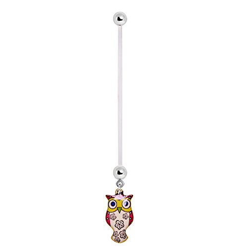 Owl Flower Blossom Dangle 14g BioFlex Maternity Pregnancy Pregnant Navel Bio Flex Navel Belly Ring (owl)