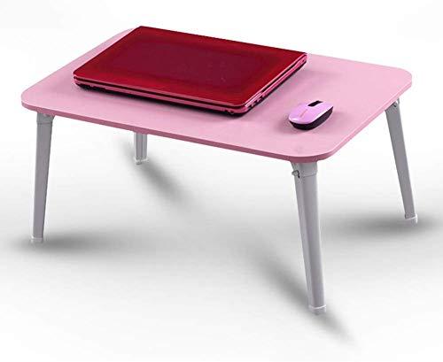 LXDDP Kleiner Klappschreibtisch Computer Notebook Lazy Tables Klappbarer Nachttisch Holzschlafsaal (Farbe: ROSA, Größe: 60x40x29cm)