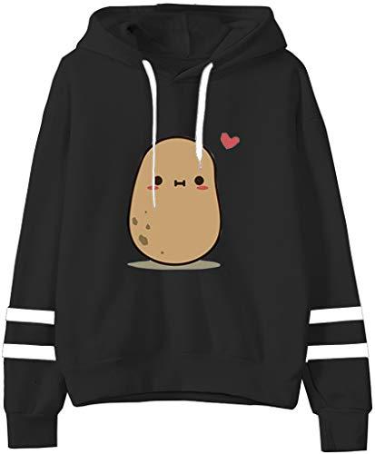 Teen Girls Hooded Sweatshirt Trendy Womens Long Sleeve Cute Graphic Hoodies Pullover Tops (Small, Black)