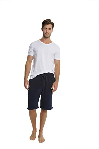 Barefoot Dreams CozyChic Men's Lounge Shorts Pajama, Long Drawstring Shorts Indigo