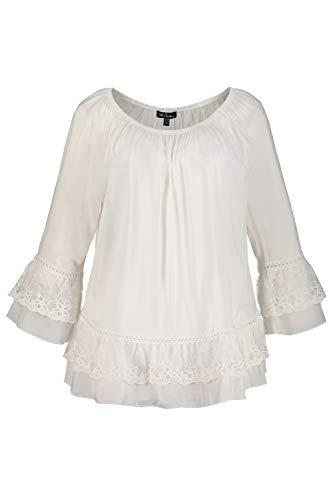 Ulla Popken Damen große Größen Bluse oildye mit Spitze Offwhite 54/56 726781 21-54+