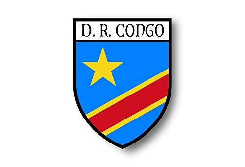 Akachafactory Aufkleber Sticker autoaufkleber Wappen Schild Flagge flaggen Fahne Kongo rdc