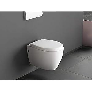Aqua Bagno – Inodoro-bidé de diseño, suspendido, con función bidé / taharat,incluye asiento con tapa de cierre suave