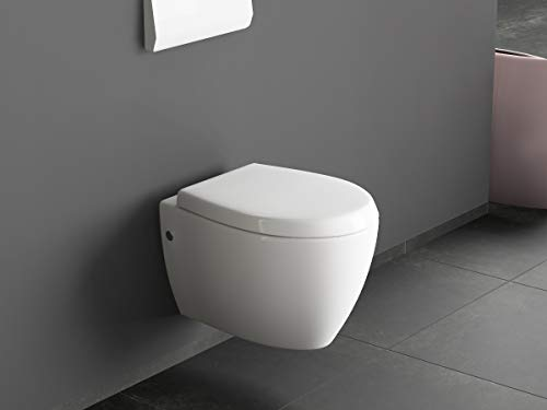 Aqua Bagno | Design Dusch-WC | Taharet | Inkl. abnehmbarer Softclose Sitz | Hänge-WC | Toilette mit Bidet-Funktion | Tiefspülklosett | Geschlossener Unterspülrand | Keramik | 510 x 363 mm