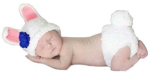 Baby peuters pasgeborenen hand gebreid gehaakte gebreide muts hoed kostuum baby fotografie rekwisieten props (witte konijn)