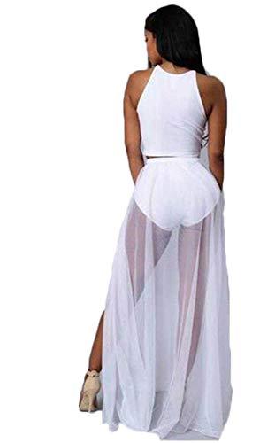 Frauen Sexy Durchsichtig Mesh Strandrock Schlitz Wickelrock Bikini Cover Up Clubwear Maxi Rock (Weiß, Einheitsgröße)