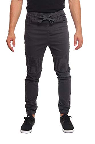 Victorious Men's Biker Twill Joggers Pants JG871 - Charcoal - X-Large - T4B