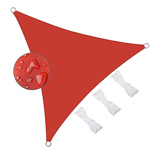 YDHNB Toldo Vela de Sombra Triangular Protección Rayos UV Impermeable, Oxford poliéster Resistente y Transpirable para Patio Exteriores Jardín,Rojo,3x3x3m