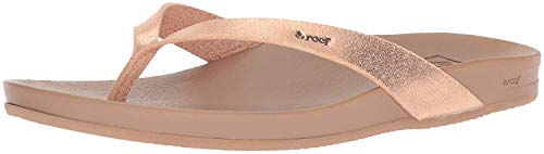 Reef Women's Sandals Cushion Bounce Court | Vegan Leather Flip Flops Straps, Rose Gold, 8