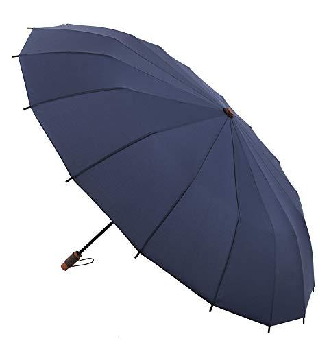 Paraguas VOGUE Supermini. 16 Varillas. Diseño Inspirado en Las Tradicionales sombrillas japonesas. Antiviento y Acabado Teflón. (Azul Oscuro)