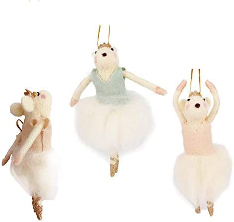 B D Felted Wool Dancing mice Birthday Gift Set Christmas Decorations Set of 3 Cute Mouse Ornaments product image