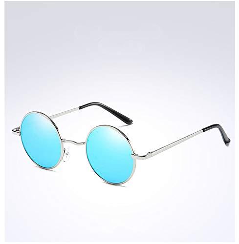 PrittUHU Gafas de Sol polarizadas para Hombres y Mujeres clásicas Vintage Redondo Hombres Gafas de Sol Marco de Metal Gafas de Sol UV400 (Frame Color : Package 2, Lenses Color : Silver Blue)