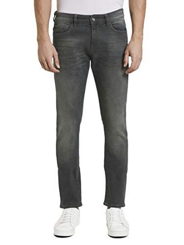 TOM TAILOR Herren Jeanshosen Troy Slim Jeans clean Dark Stone Black Denim,32/32