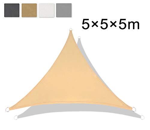 LOVE STORY Dreieck 5 x 5 x 5 m Sandbeige(PES) UV-Schutz Wasserdicht Sun Segel Sonnensegel Terrasse Garten Im Freien