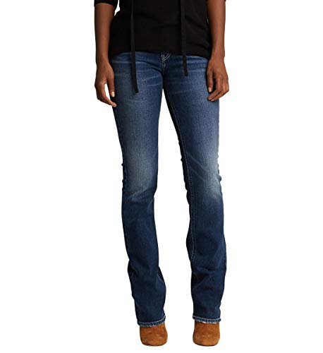 Silver Jeans Co. Damen Suki Curvy Fit Mid Rise Slim Bootcut with Flap Pockets Jeans, Low Stretch Medium Indigo, 29W x 33L