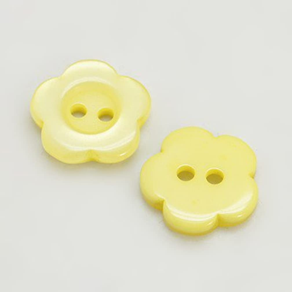 PEPPERLONELY 78PC Yellow 2 Holes Flower Resin Buttons, 15x3mm(9/16x1/8 Inch)