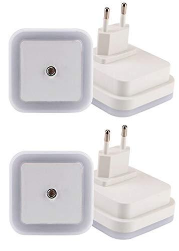 2er Nachtlicht Stecker Set mit Dämmerungssensor Weiß LED >0,5W Orientierungslicht Stimmungslicht Küche Bad Treppe Baby Schlafzimmer