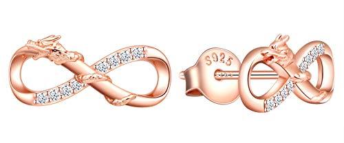 INFINIONLY Pendientes para mujer niña, juegos de joyas Pendientes de plata esterlina 925, pendientes símbolo de infinito y dragón auspicioso, incrustación de zirconia, oro rosa