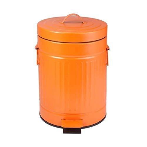 WWWXD Bote de Basura, con la Tapa del Pedal residuos de Cocina Creativa de la Sala for el Dormitorio con la Basura Decorativo Bin práctica (Color : Orange, Size : 12L)