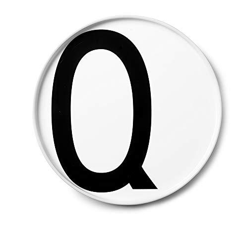 Design Letters Assiette Personnalisée en Blanc Porcelaine Fine de A-Z - Q – Assiette Decorative, Idéal décorer, comme Cadeau Personnel, ou pour Les Repas, Compatible Lave-Vaisselle, D: 20cm