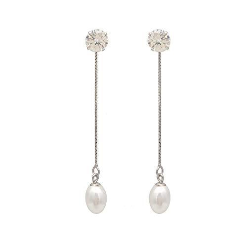 regalo del día de la maELAINZ HEART elegante pendientes colgantes de perlas plate adospara mujer, plata de ley 925, 5cm de largo, 7-9 mm, cultivados en agua dulce, lustre blanco perla de gotas de agua