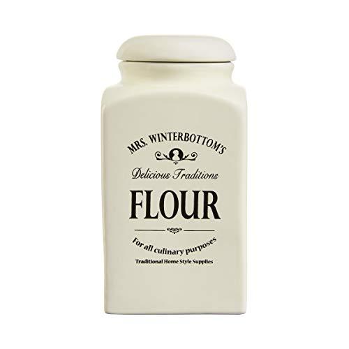 BUTLERS MRS. WINTERBOTTOM'S Mehldose 1,3 l in Creme - Vintage Vorratsdose aus Steingut im englischen Design - stilvolle, klassische Aufbewahrung
