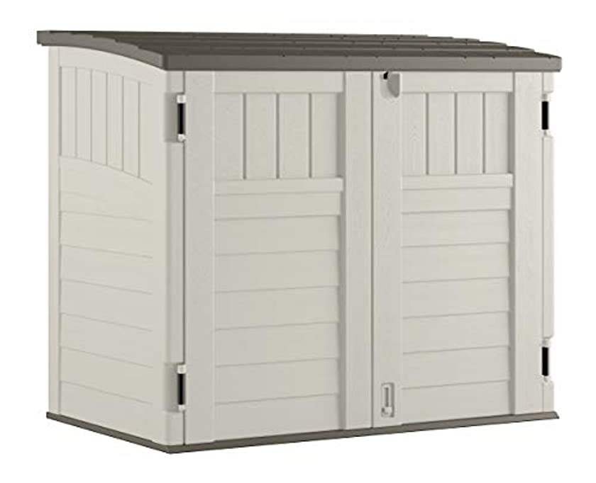 Suncast Horizontal Storage Shed - Outdoor Storage Shed for Backyards and Patios - 34 Cubic Feet Capacity for Garbage Cans, Tools and Garden Accessories - Vanilla and Stoney