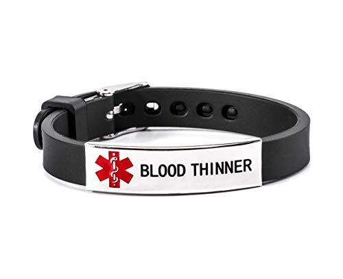 Blood Thinner Medical Alert ID Bracelet Silicone Wristband Black Adjustable Size for Men Women
