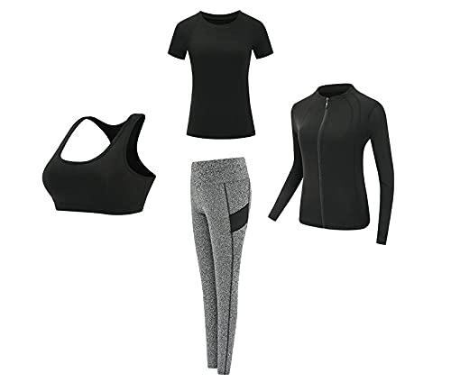 Mujer Correr Yoga Fitness Conjunto Compresión,Traje deportivo yoga,ropa entrenamiento gimnasio secado rápido mujeres:manga corta negra+sujetador+pantalones grises+chaqueta negra,Suave Transpirable Có