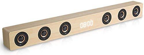 Altavoz, barra de sonido para Tv con salida óptica Barra de sonido de madera estéreo de alta fidelidad Pantalla de reloj Soporte de alta potencia de 30 W Entrada de audio RCA AUX HDMI para TV Home