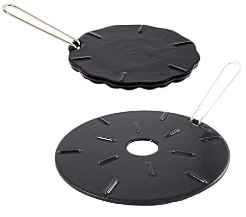 Placa difusor de calor de hierro fundido – Reductor de llama – 2 unidades – 2 tamaños incluidos – placas difusoras de calor de 8.25 pulgadas y 6.75 pulgadas – Protector de llamas – anillo de fuego – Tamer de calor