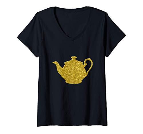 Mujer Tetera la caldera, Símbolo oro del pote del té la vendimia Camiseta Cuello V