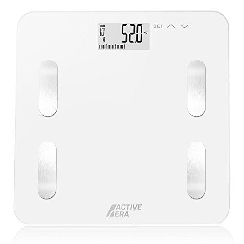 Active Era™ – Báscula de baño ultrafina para medir la grasa corporal. Analizador con{18937bc54ee4dda93c74671441ec6688d528077177dd970cb9bed7038ddf07ae} de grasa corporal, IMC, edad, peso y altura (blanco)