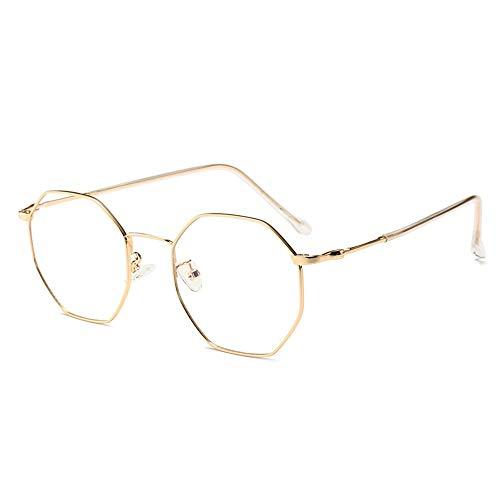 Cvthfyky Marco de gafas poligonal de metal Gafas ópticas Sin receta Marco de anteojos para mujeres (Color : Oro)