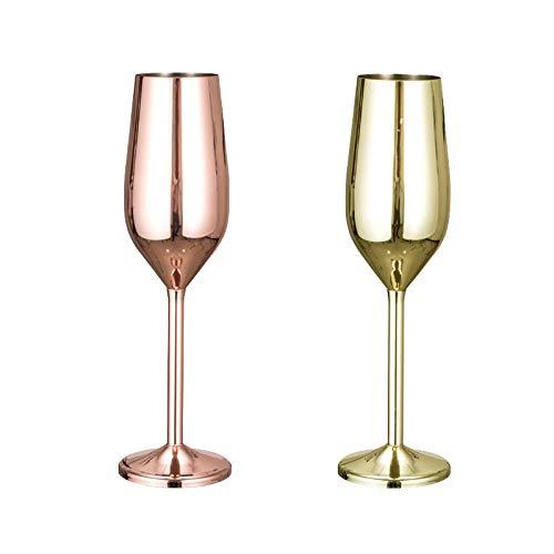 Katigan Copas de Copa de Vino de Acero Inoxidable Copa de ChampáN Copas de CóCtel Copa de Whisky, Oro + Cobre, Paquete de 2