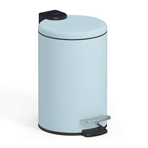 stardis 3 Liter Treteimer Edelstahl Pastell blau matt mit Absenkautomatik Klappdeckel leise schließend Softclose mit Inneneimer Kosmetikeimer Mülleimer Abfalleimer Badezimmer